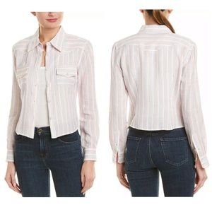 NWT MILLY Striped Cropped Button-Up Top